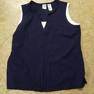 Navy and white sleeveless top size 18/20